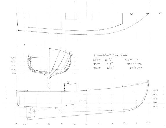 Lines plan for lobsterboat hull