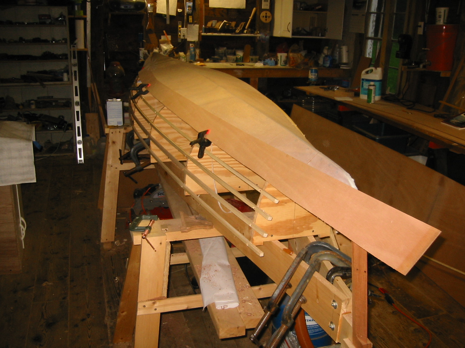 Double paddle canoe charlotte with the garboard installed